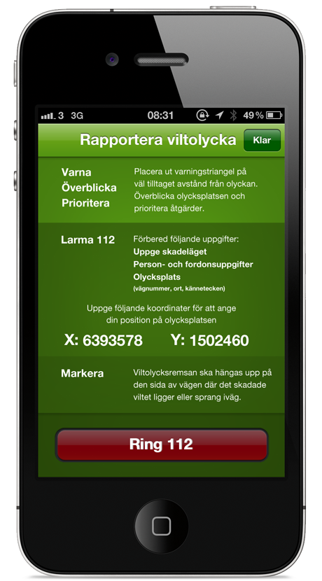 Rapportera viltolycka via iPhone App